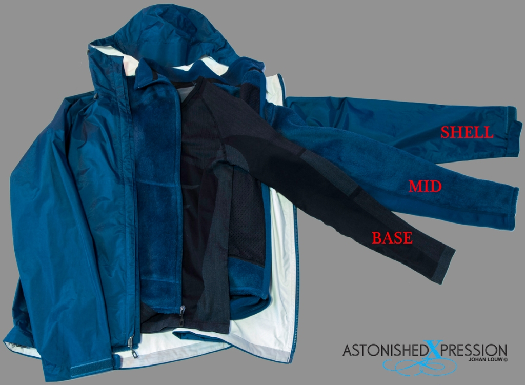 The layered clothing system consist of base, mid and shell layers.