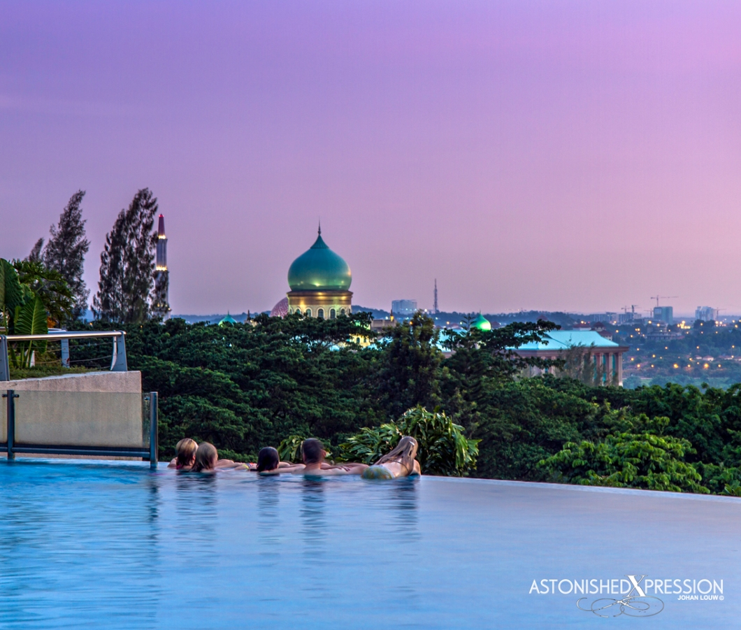 The Shangri-La Hotel pool offers superb views towards Putrajaya City