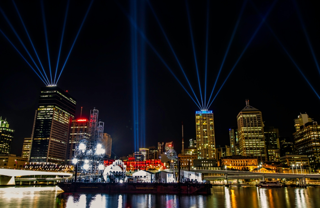 Laser show lights up Brisbane's skyline