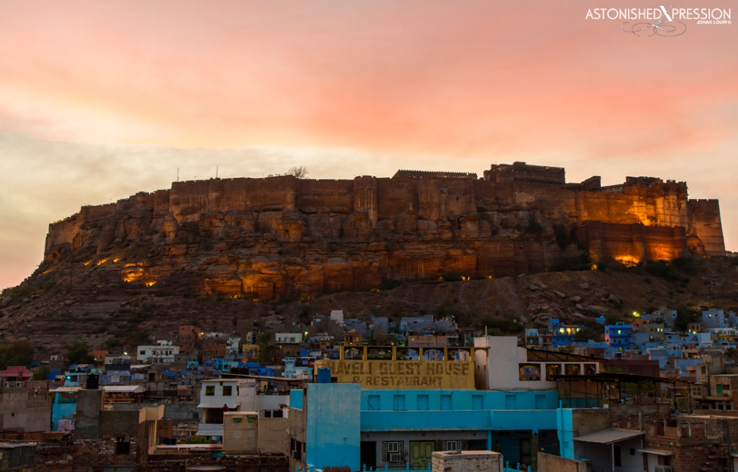 The magnificent hilltop fort Mehrangarh dominate the blue city of Jodhpur
